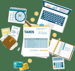 image représentant des factures n porte-feuille une carte de crédit et une calculatrice