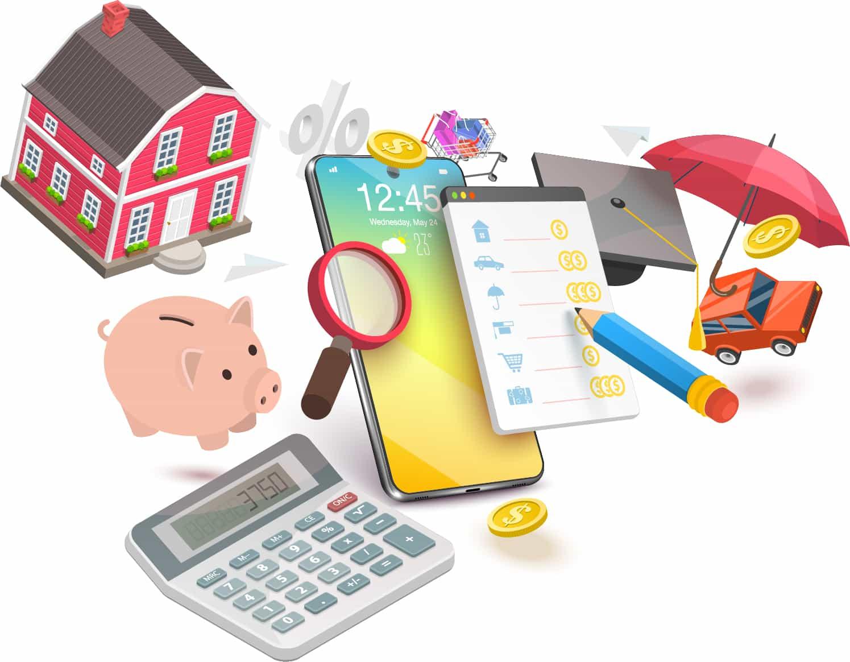 Dessin, maison, tirelire, panier d'épicerie, chapeau de finissant scolaire, loupe, parapluie,paiement de facture endettement comptable